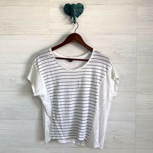 Vince 100% Linen White Striped Short Slv Top